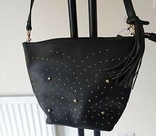 Ladies Matalan Black STUDDED bag handbag NEW unused FREE POST