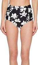 MICHAEL Michael Kors 173870 Floral Vine High-Waisted Bikini Bottoms Black Large