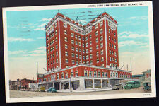 1933 Rock Island Illinois Il Hotel Fort Armstrong Cars Bus Street Linen Postcard