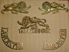 CAP BADGES-ORIGINAL BOER WAR CAP COLLARS TITLES SET KINGS OWN LANCASTER REGIMENT