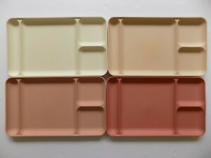 4 Vintage Tupperware Pink Divided Picnic Cafeteria Lunch Dinner Trays