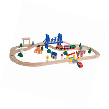 Train Set Wooden Learning Piece Toy Melissa Doug Railway Kids Compatible Track