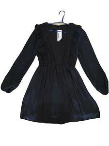 Boohoo Black Ruffle Skater Dress. Pleated Long Sleeves. 16