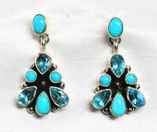 Navajo Turquoise & Topaz Sterling Silver Dangle Earrings~ Apachito~20% OFF Sale