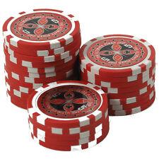 50 Pokerchips 13g Clay (Ton) Wert 5 rot Metallkern Ultimate Poker Laser