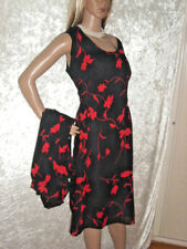 Tolles Crepe-Chiffon-Sommerkleid m. Bluse Urlaubskleid Abendkleid 52 Schwarz/Rot