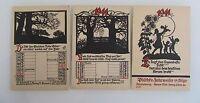 3x Kunst-Karten Schattenriss Künstlerkarten Kalender Motive 1941 Kalenderblatt