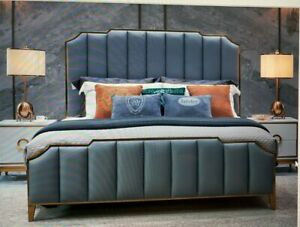 Luxurious King Size Bed Frame Blue Grey Artificial Leather With Golden Frame