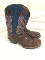 Justin Kids Cowboy / Western Brown Leather Boots - Size Youth 12 D