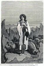 Antique print Montenegro / lady shepherd albanian border 1877 sheep / holzstich