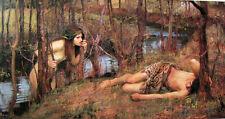 "Oil painting J. W. Waterhouse - A Naiad nude nice girl with sleeping man 36"""