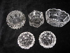 Vintage Crystal Open Salt Cellars - set of 5 - Different Styles
