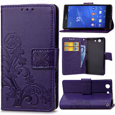 Emboss Clover Strap Wallet Card Leather Case Cover For Huawei Sony Xiaomi HTC SD