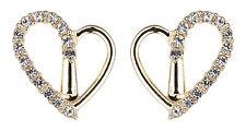 Orecchini a Clip-in ORO orecchino cuore con cristalli chiari-CORA G
