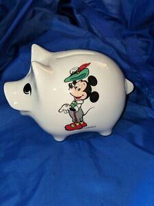 Disney Copyright Mickey Mouse Ceramic Piggy Bank Excellent Condition