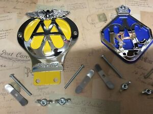 CLASSIC AA CAR BADGE BAR FITTING AND RAC BADGE SERIAL NUMBER COLLECTABLE