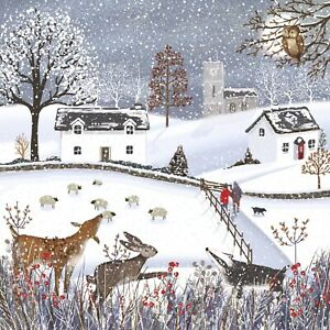 Winter Scene Charity Christmas Cards Pack of 10 Blue Cross for Pets