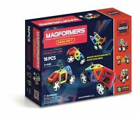 Magformers Rainbow 16 Piece Wow Set - Children's Magnetic Vehicle Construction