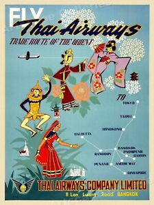 1950s See Thailand via Thai Airways Vintage Style Travel Poster - 18x24
