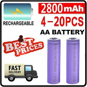 4~20PCS AA 2800mAh 1.2V Ni-Cd Rechargeable Batteries Case for LED RC Toy mp3