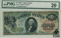 1869 $1 United States Legal Tender Large Paper Money Fr#18 Allison PMG VF 20