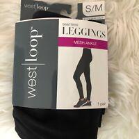 NEW - West Loop Seamless Black Seamless Ladies Leggings -Mesh Ankle S/M