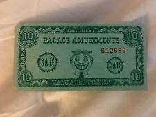 Palace Amusements Asbury Park NJ 10 Point Coupon Arcade Prize Ticket TILLY !!!!