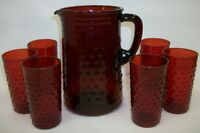 Vintage Anchor Hocking Royal Ruby Red Hobnail Water Set Pitcher & 6 Glasses