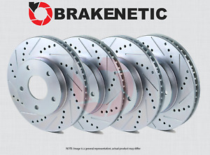 [FRONT + REAR] BRAKENETIC SPORT Drilled Slotted Brake Rotors w/AKEBONO BSR74934