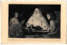 """REMBRANDT """"Abraham visité par les anges"""" Eau-forte parue Gazette des Beaux-arts"""