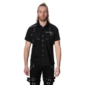 Dead Threads - Men's Black and Gray Classic Fit Shirt with Two Velcro Pockets
