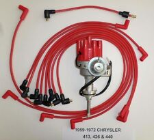 CHRYSLER 440 1959-1972 RED Small Female Cap HEI Distributor & Spark Plug Wires