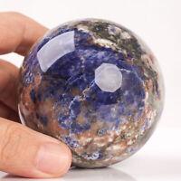 405g 68mm Natural Blue Sodalite Quartz Crystal Sphere Healing Ball Chakra Decor