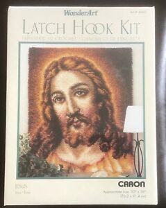 "Caron WonderArt JESUS Latch Hook Wall Hanging Kit Art #4460  30""x 36"" Vintage"