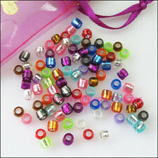 350Pcs Mixed Acrylic Plastic Barrel Tube Spacer Beads Charms 4mm