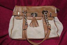 women's purse APT9 beige w/gold flick, lt brown,  gold chain, w/wallet