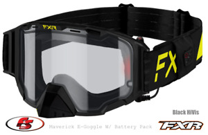 New FXR MAVERICK E-GOGGLE 21 Electric heated lens w/Battery Pack Hi Vis/Black