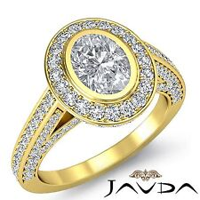 Halo Pave Oval Diamond Stunning Engagement Ring GIA F VS1 18k Yellow Gold 2.75ct