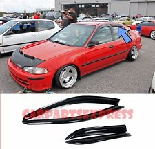 For 92-95 Honda Civic 4Dr Sedan Smoke Tint Side Window Visors Rain Guard EG9 EG