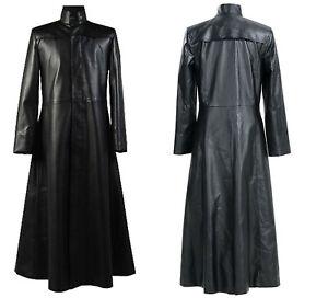 Neo Matrix Trench Coat Keanu Reeves Black Leather Trench Coat Gothic Jacket