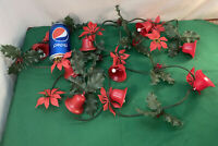 Vtg Mid-Century MERRY CHRISTMAS Red Bell Plastic HOLLY Green Sprigs Garland 10ft