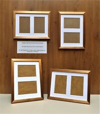 "Narrow Brushed Bronze Photo/Picture Frame with White DOUBLE 6x4""Aperture Mount"
