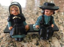 """Vintage Amish Cast Iron Miniature Man & Woman & 3.5"""" Bench Handcrafted"""