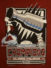 Colorado Avalanche 2001 Stanley Cup Champions T-Shirt Adult Large Red New