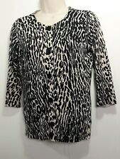 Talbots Petite Animal Print Sweater Cardigan Black Beige Button 3/4 Sleeve