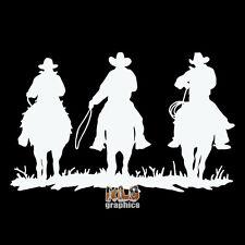 3 COWBOYS Western OPEN RANGE Rodeo Horses Car Truck Window Vinyl Sticker MUSTANG