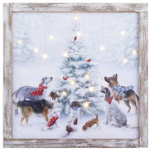 "15.75"" DOGS AROUND CHRISTMAS TREE LED LIGHTED FRAMED PRINT RAZ 4016307 NEW"