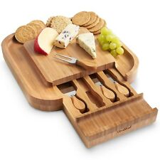 VonShef Square Wooden Cheese Board With Slide Out Drawer Set of 4 Knives