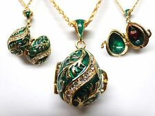 ***BEAUTIFUL***GREEN w GOLD TRIM FABERGIE INSPIRED EGG PENDANT w/ CHAIN