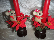 Josef Originals Flocked Mouse Mice Candle Huggers with Candle Holders